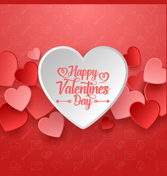 happy valentines day with white and red hearts vector image