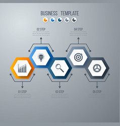 Infographics template 5 options with hexagon vector