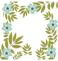 Isolated flowers and leaves frame design vector