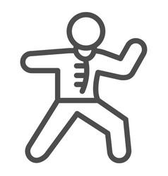 karate sportsman line icon self defense concept vector image