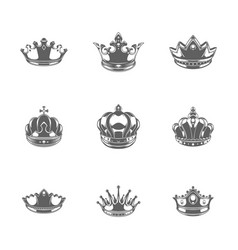 King crowns logos royal vector
