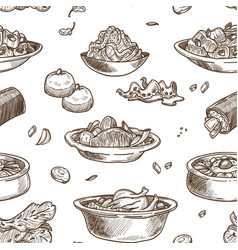 korean cuisine traditional dishes sketch seamless vector image