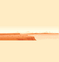 landscape planet mars with edge cliff vector image