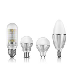 led bulbs with different base types set vector image