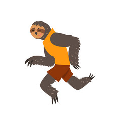 Lemur in sport uniform running funny sportive vector
