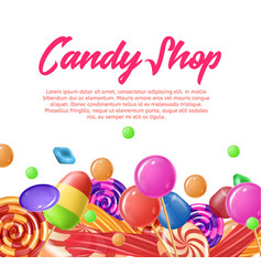 lettering written candy shop banner landing page vector image