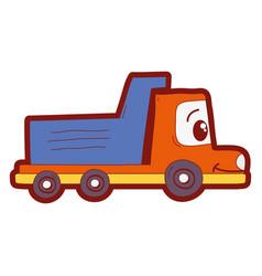 Line color kawaii happy drump truck transport vector