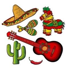 Mexican set sombrero pinata maraca cactus vector image