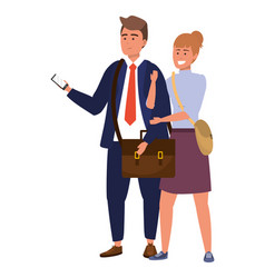 Millennial student couple smiling vector