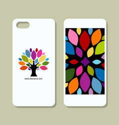 Mobile phone cover design art tree vector