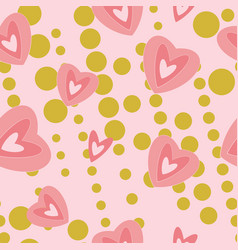 modern hearts on pink an gold background seamless vector image