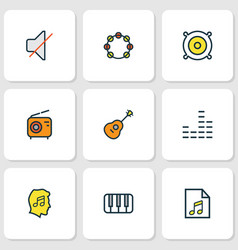 multimedia icons colored line set with equalizer vector image