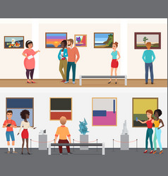 Museum visitors people in art exhibition vector
