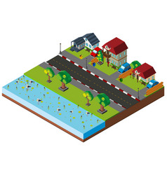 Neighborhood scene in 3d design vector