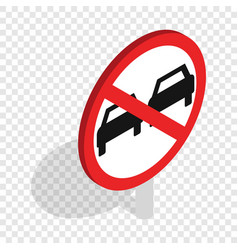 no overtaking sign isometric icon vector image
