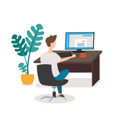 office people young man working on computer vector image