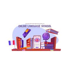 online language school banner distance study vector image