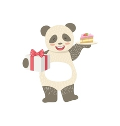 Panda Cute Animal Character Attending Birthday vector image