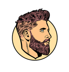 Pop art men hipster face profile vector