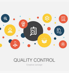 Quality control trendy circle template with simple vector