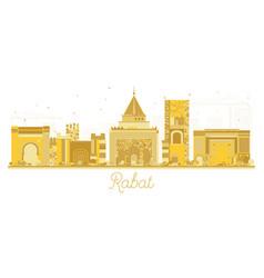 Rabat morocco city skyline golden silhouette vector