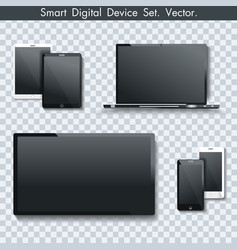 Realistic set of tv panel computer monitor laptop vector