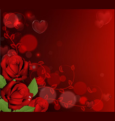 red valentines day roses background vector image vector image