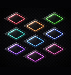 rhombus banners set neon led halogen lamp signs vector image