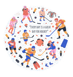 Round with young ice hockey players vector