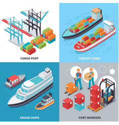Sea port 2x2 design concept vector