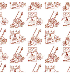 Seamless pattern with a violin and a tear-off vector