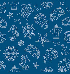 seaside seamless pattern vector image