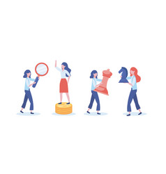 Set businesswomen with magnifying glass and vector