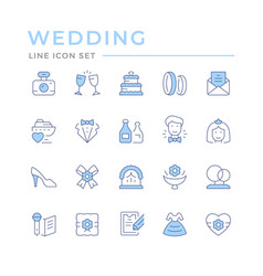 set color line icons wedding vector image