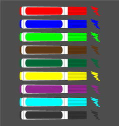 Set of colored felt-tip pens vector