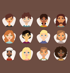 set of diverse round avatars with facial features vector image