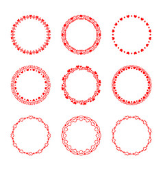 set of round frames with hearts in vintage and vector image