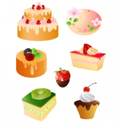 set of sweet dessert icons vector image