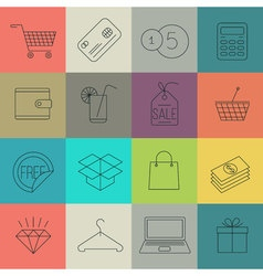 shopping and store thin line icon set vector image