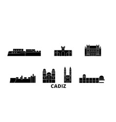 spain cadiz flat travel skyline set spain cadiz vector image