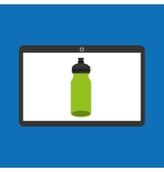 Sport laptop app concept bottle water vector