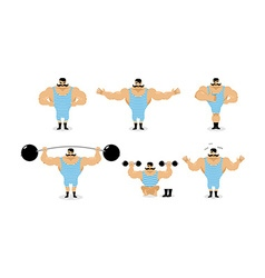 Strong retro athlete set poses Ancient bodybuilder vector