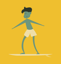 Summer surfing of girl or young woman surfer at vector