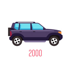 Suv model 2000 side view and car manufacturing vector