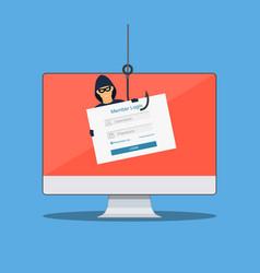 thief hacker in mask stealing passwords vector image