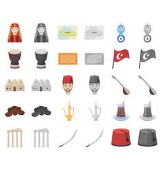 Turkey country cartoonmonochrom icons in set vector