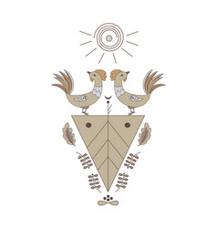 two roosters under sun triangle with symbols vector image