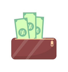 Wallet and money cash objects vector