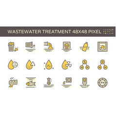 Wastewater and water treatment icon set design vector