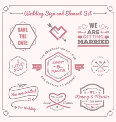 Wedding celebration badge and sign decoration vector